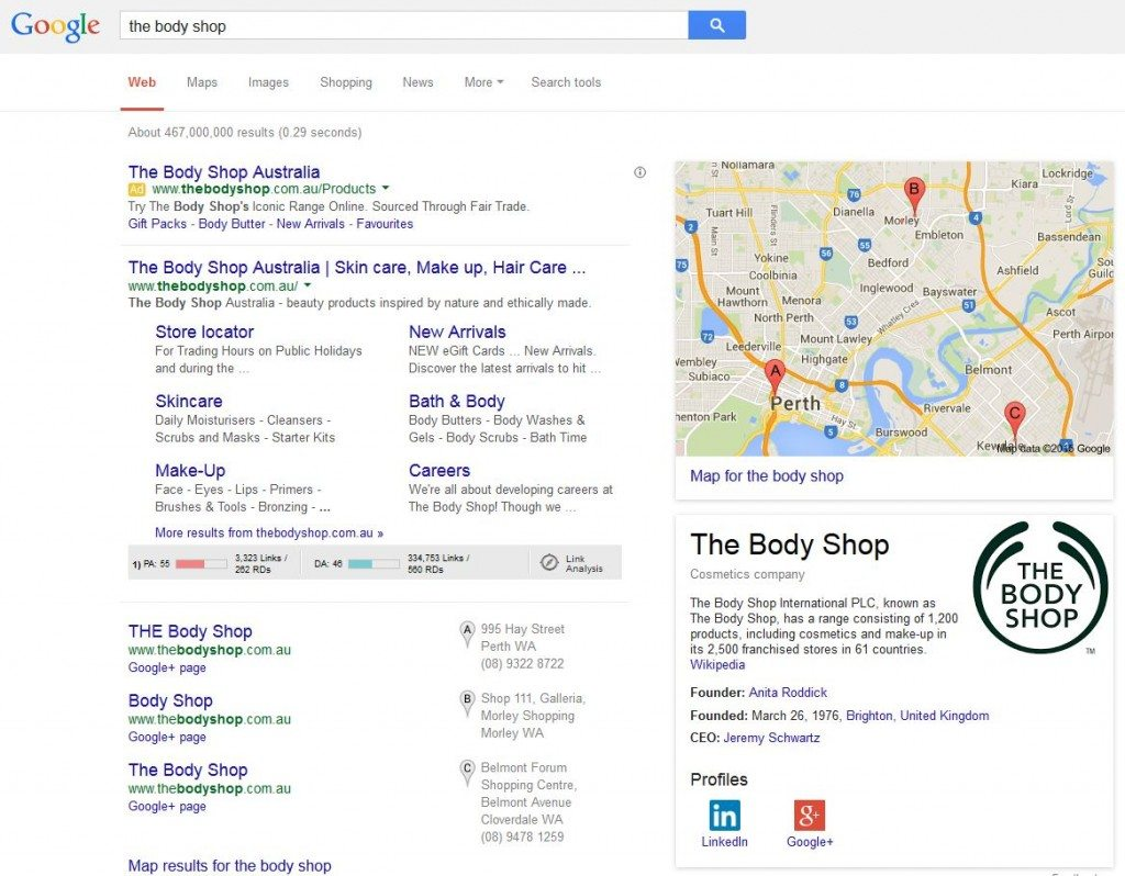 Search results Body Shop
