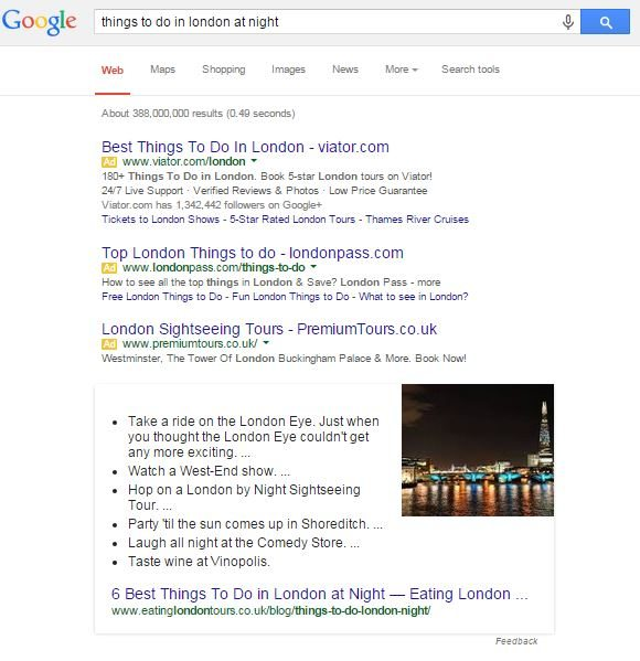 things to do in london answer box